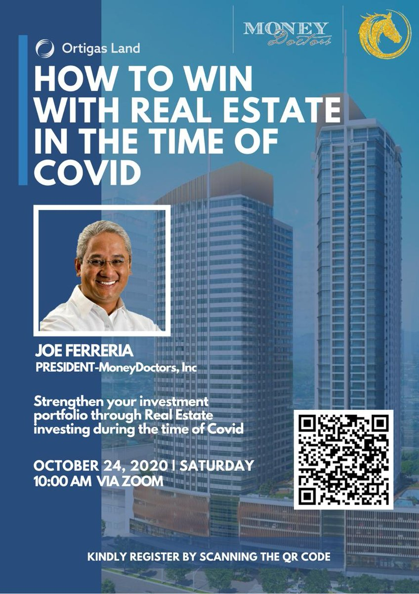 You're invited to a FREE Webinar! How to Win w/ REAL ESTATE in the Time of COVID-19, brought to you by Ortigas Land & Money Doctors. 😀  DM me to pre-register to put my details as person who invited you. Or text via Sun/Viber: +639321800937  #Filipino #FAHM #FilAm #Pinoy #Pinay https://t.co/V23EobKnaH