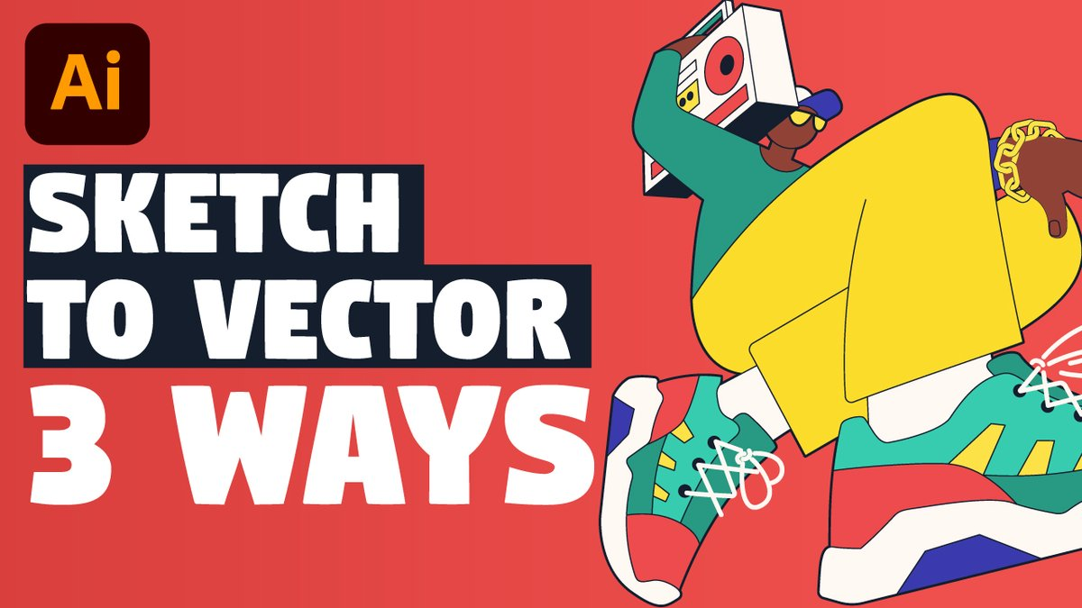 NEW TUTORIAL! Learn 3 ways to turn your pencil sketch into vector illustration.  https://t.co/SWlzZgsN64  #createwithIllustrator #AdobeIllustrator #Illustrator #vectorart  #DesignThinking #GraphicDesign #YouTube #WithMe #Tips #sketch #illustrationart #illustrationartists https://t.co/zJsjAAgZVX
