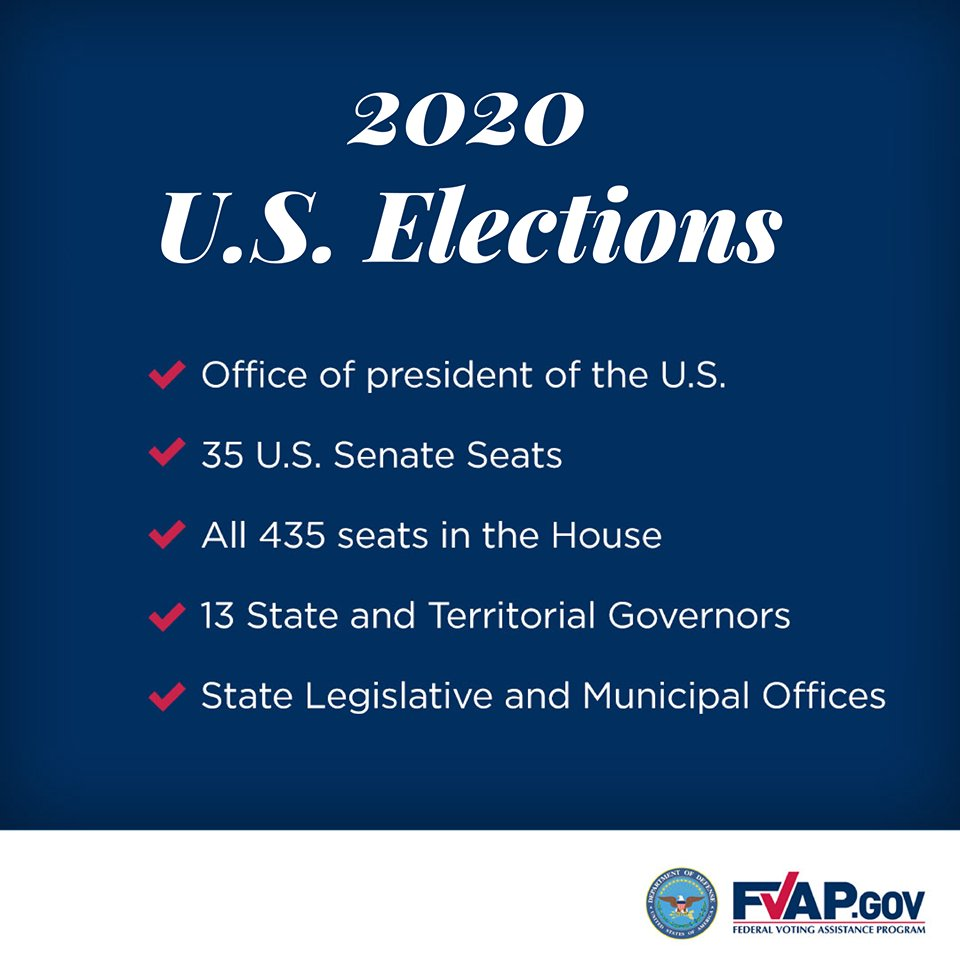 As the U.S. Federal General Election nears, keep in mind some of the seats and offices you can expect to see on your 2020 ballot. Contact your local election officials with state specific questions; fvap.gov/search-offices