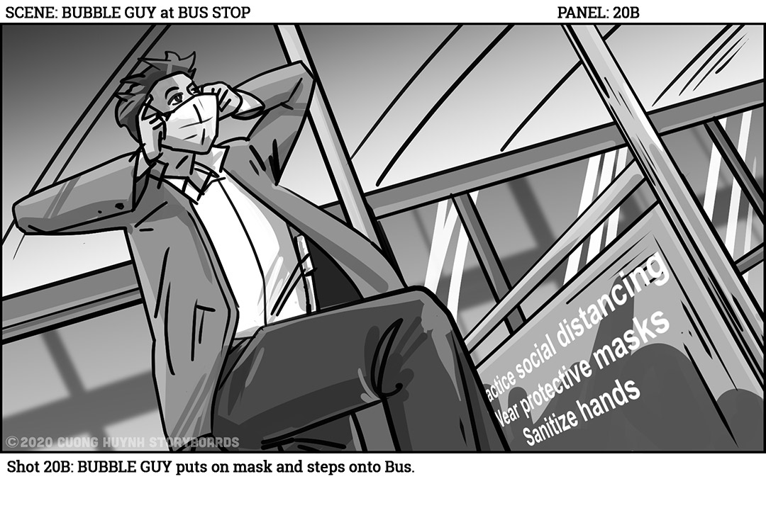 Low angle BUBBLE GUY puts on mask & steps onto Bus. #covid #covid19 #covid_19 #film #filmphotography #sequence #movies #moviescene #moviescenes #makingmovie #makingfilm #moviemaking #storyboard #artist #storyboarding #storyboards #drawing #drawings #films #filmdirector #director https://t.co/zDHEkaTNo2