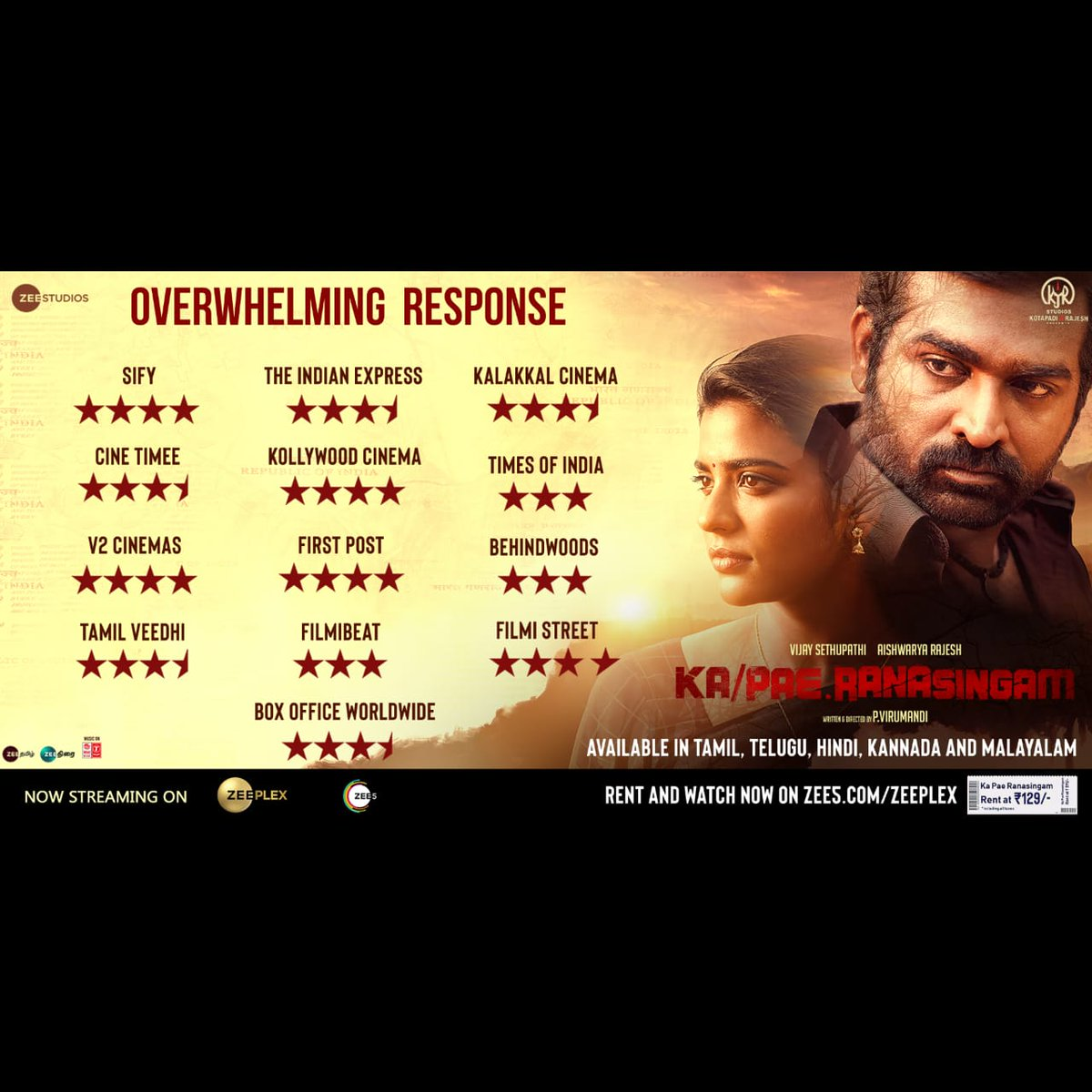 Appreciated by many #KaPeRanasingam is a must watch of 2020. Get your ticket now @zeeplexofficial for Rs.129 only. The movie is available in #Telugu, #Malayalam, #Kannada & #Hindi https://t.co/KaRQmxBioo @VijaySethuOffl @kjr_studios @aishu_dil  @GhibranOfficial  @ZeeStudios_ https://t.co/QWDPwuPN7A