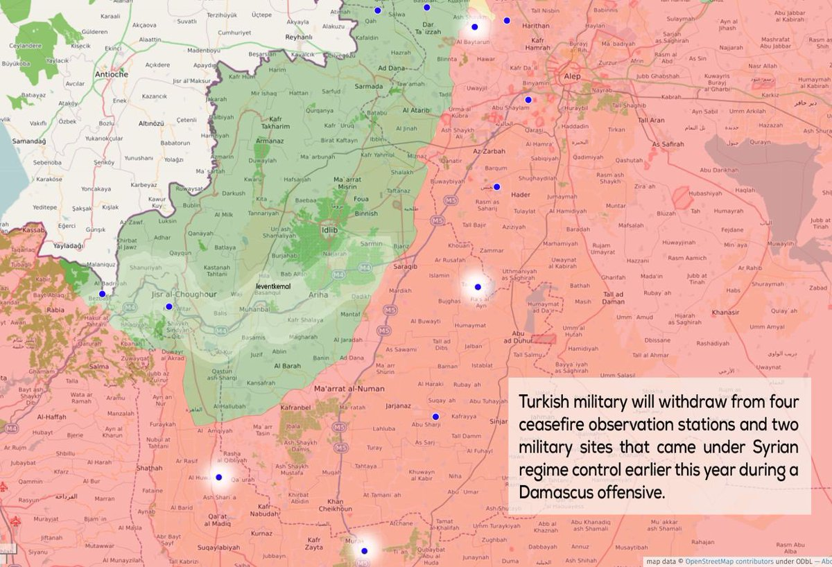 Turkey to abandon 4 observation stations in Syrias Idlib: Shir Maghar, Morek, Tal Touqan, Sheik Aqil. Details are in the map: