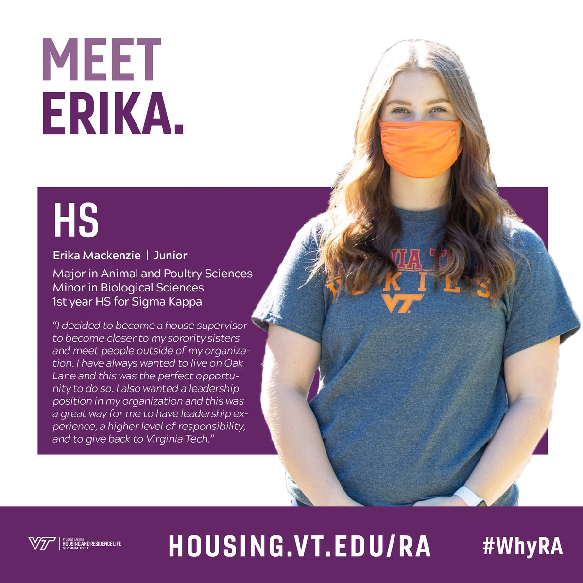 Meet House Supervisor Erika Mackenzie, a 1st year HS for Sigma Kappa in Oak Lane! Apply now to become a House Supervisor or Resident Advisor! Head to https://t.co/ZKi7CWVae6  #WhyRA #VTHRL #VirginiaTech #HouseSupervisor #ResidentAdvisor https://t.co/TD6ND6TKTj