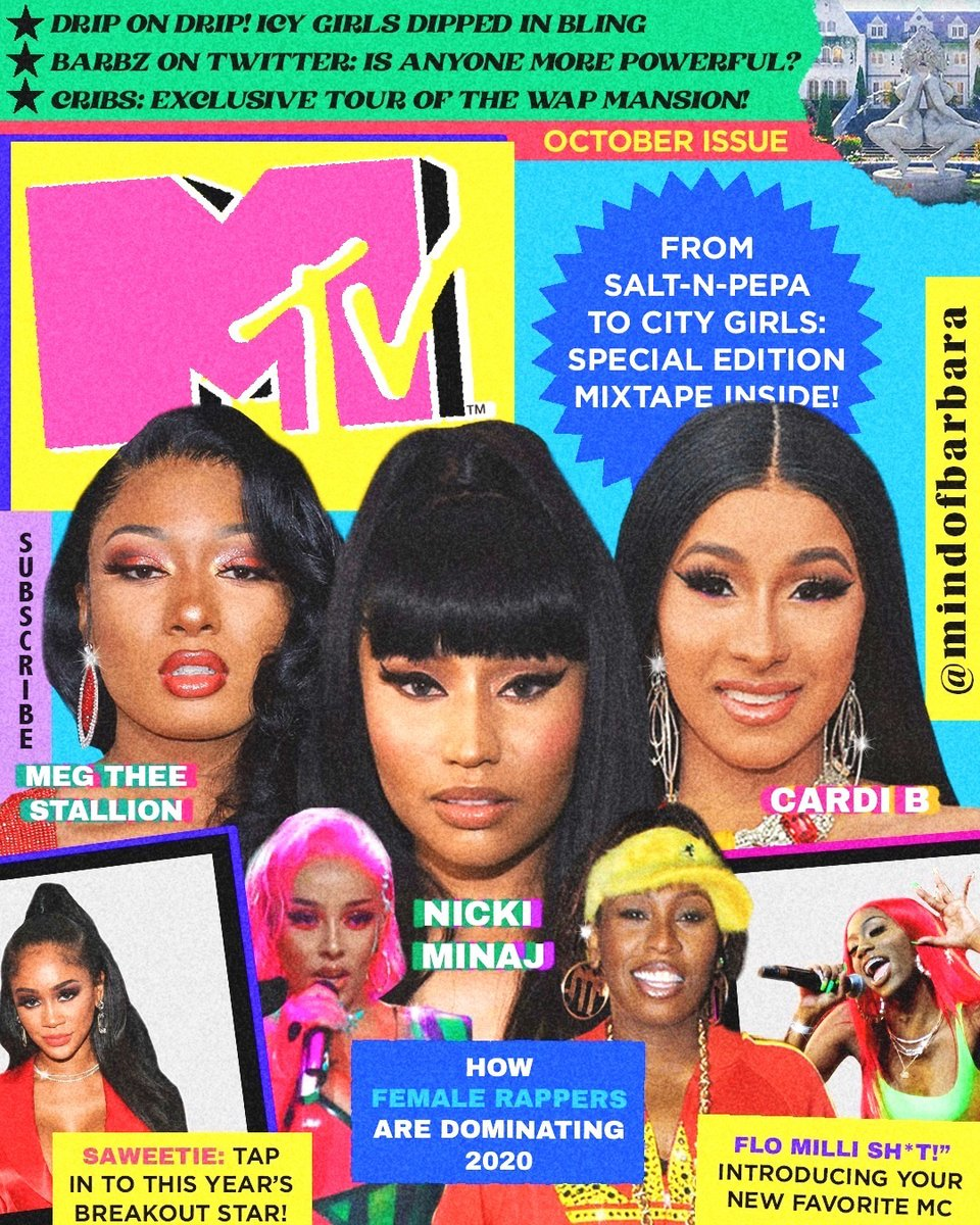 🗣 EXTRA! EXTRA! READ ALL ABOUT these epic #WomenInRap. Make sure @citygirls, @LilKim, @theestallion and more stay topping your playlists:   🎨: @mindofbarbara #MTVxMindOfBarbara