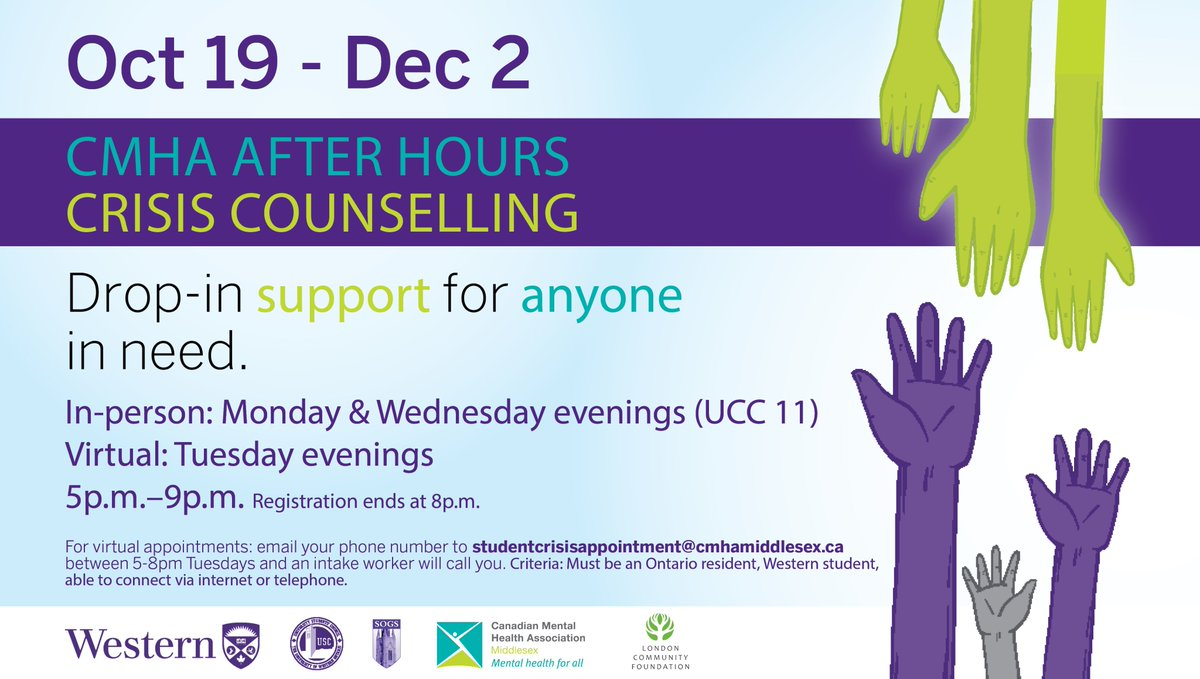 .@CMHAMiddlesex After Hours Crisis Counselling is onsite starting tonight to offer support to all @WesternU students. Drop by or set up a virtual appointment if you need support 💜 📆 Oct 19-Dec 2 👥 In-person: Mondays & Wednesdays (UCC 11) 💻📱 Virtual: Tuesdays ⌚️ 5-9pm