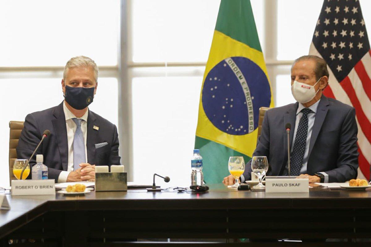Recebendo a visita do Conselheiro de Segurança Nacional dos EUA @robertcobrien na @Fiesp para debater formas de aprofundar a relação entre Brasil e Estados Unidos, incluindo agenda de facilitação de comércio e ampliação da pauta comercial e de investimentos bilaterais.