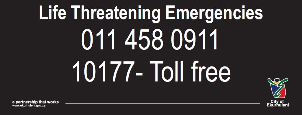 🚨EMERGENCY NUMBERS  🚨Life Threatening Ekurhuleni Emergency Line: 011 458 0911  🚨National Toll-Free Number: 10177 🚨112    : Cell Phone https://t.co/92qBZ5kRYI