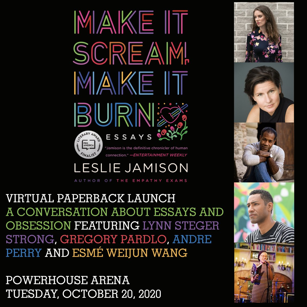 Tomorrow!  Register for the virtual paperback launch of MAKE IT SCREAM, MAKE IT BURN by @lsjamison, with @lynnsstrong, @Pardlo, Andre Perry and @esmewang here: