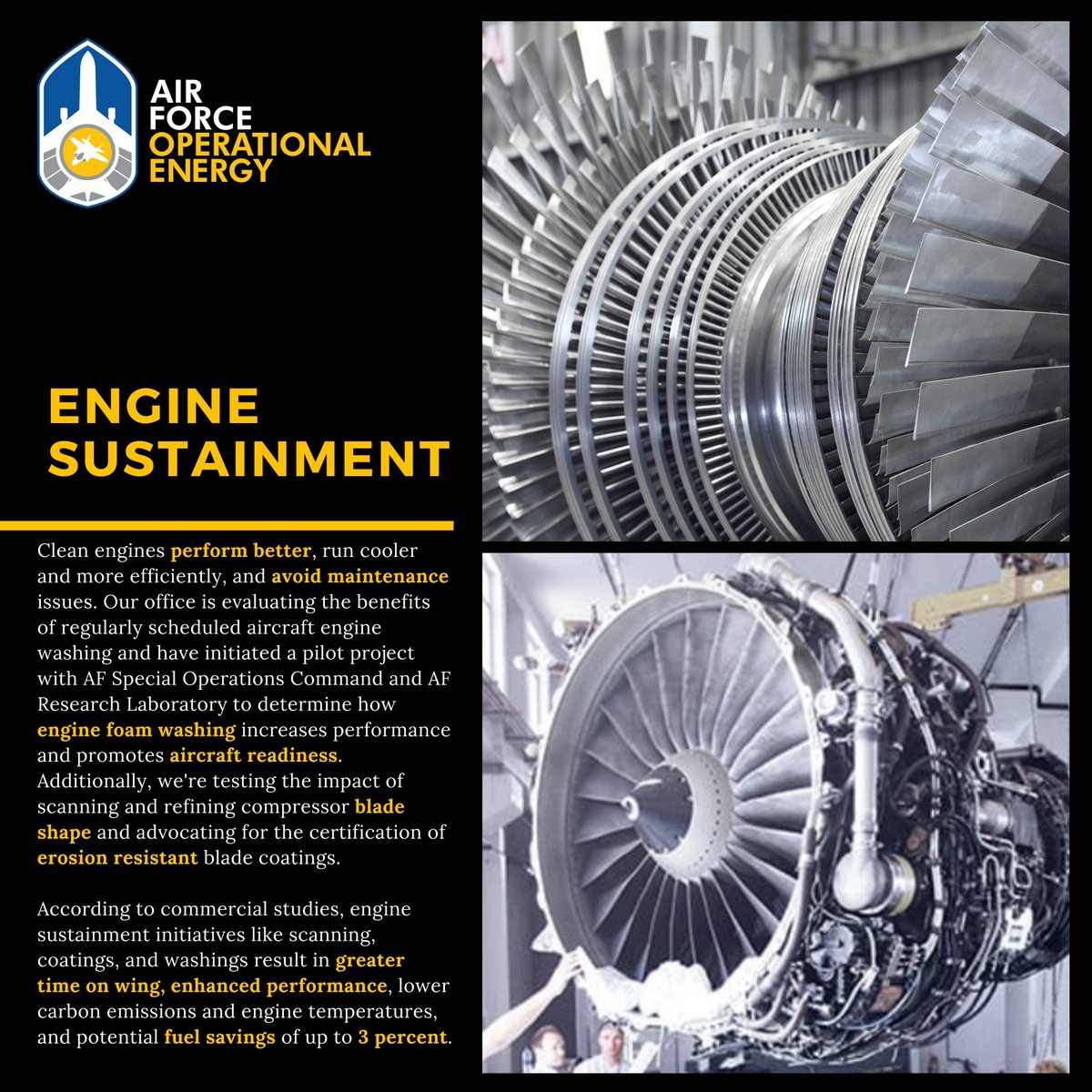 DYK our engine sustainment initiatives can reduce fuel use by 2-3% AND increase engine performance? #EnergyAbleMissionCapable #EnergyAwarenessMonth 👉 go.usa.gov/xGGjB