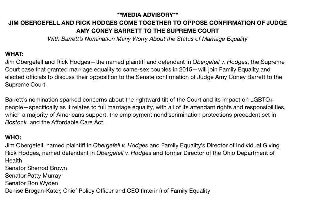 Inbox: The plaintiff AND the defendant in Obergefell v. Hodges, the marriage equality case, are teaming up to oppose Amy Coney Barrett's confirmation to the Supreme Court.