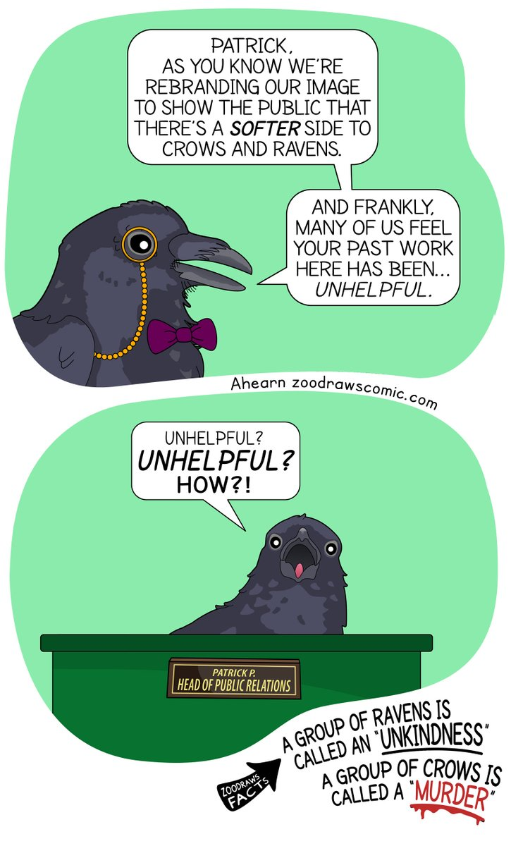 You can tell he's the boss because he has a monocle.  #crows #ravens #crowsoftwitter #ravensoftwitter #animalhumour #animalfacts #bestoftheday #webcomic #funnycomics #zoodraws #animalcomics https://t.co/WEWYKYEqjg