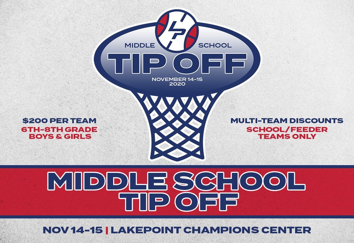 We're now LESS THAN A MONTH from the 4th annual LakePoint Middle School Tip Off. Registration has picked up lately and spots are limited, so lock in your program today!  REGISTER: https://t.co/cKQTKyTHTL https://t.co/GL9GPnWU8X