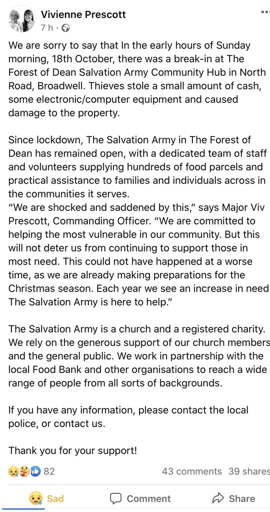 It is with great sadness to see a vital service in the Forest of Dean come under attack. The Salvation Army hub in the FoD was broken into. If you saw or know anything please contact @Glos_Police or FoD Salvation Army @salvationarmy #Crime #reportit https://t.co/xw9bjXAh6I