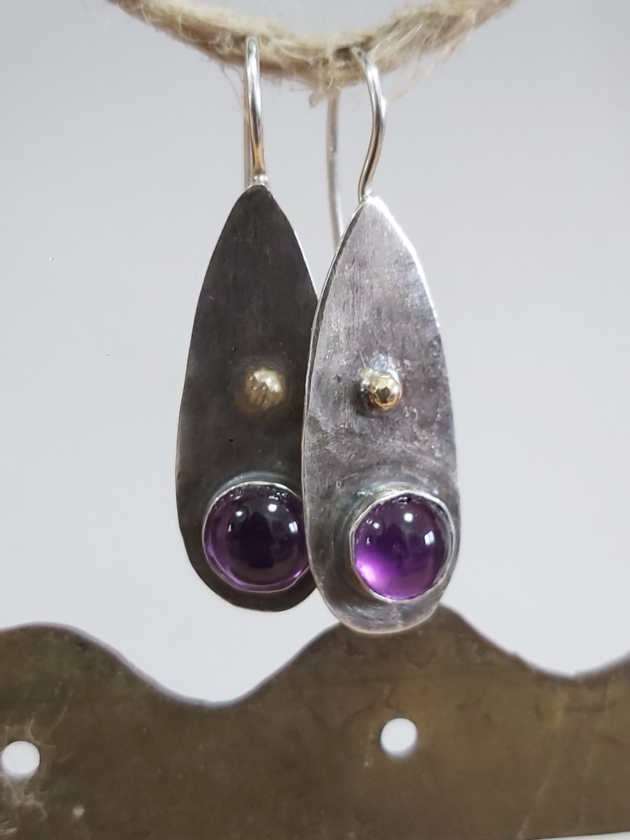Excited to share the latest addition to my #etsy shop: Amethyst Earrings, Bezel Set Earrings, Two Tone Earrings, Cabochon Set Earrings, Solid Silver Earrings, Silver and Gold, Everyday Dangles https://t.co/WNv5rJNwCu #silver #purple #amethyst #women #earlobe #earwire # https://t.co/aSs3Fsqu3A