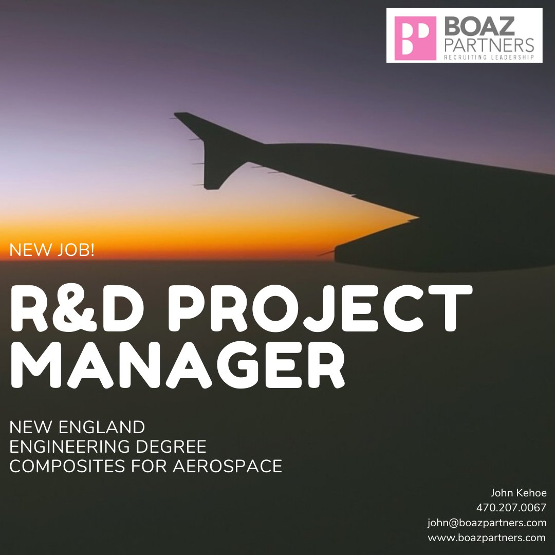 NEW job! We're looking for an R&D Project Manager. Reach out to John Kehoe for details! #researchanddesign #manager #newengland #engineering #engineer #composites #aerospace #specialtychemicalrecruiters  https://t.co/SKJ2EoL8xX https://t.co/nVAiKMW9qD