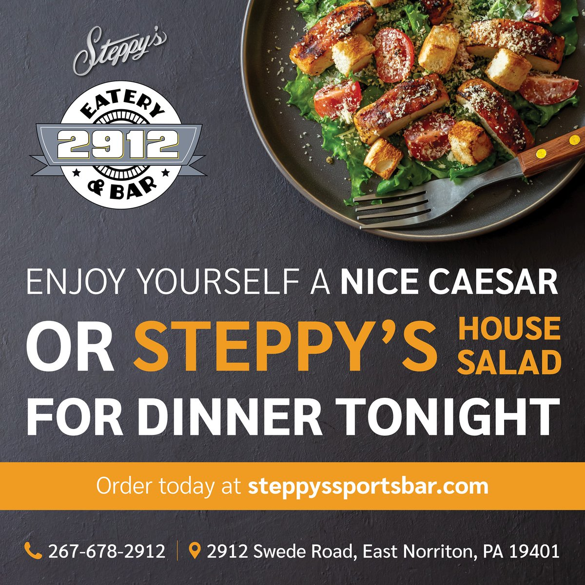 Enjoy yourself a nice Caesar or Steppy's House salad for dinner tonight. Order today at https://t.co/AIY1ZS2cUG. #caesar #house #salads https://t.co/rzxVMq04DJ