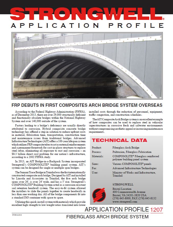 Single span or multiple span bridges can be expensive to design and build. This company incorporated #COMPOSOLITE into their arch bridge system to reduce the headwall build portion to just one day. #madeinusa #pultrusion #composites  Learn more - https://t.co/saV54nbbv0 https://t.co/9US42Z986M