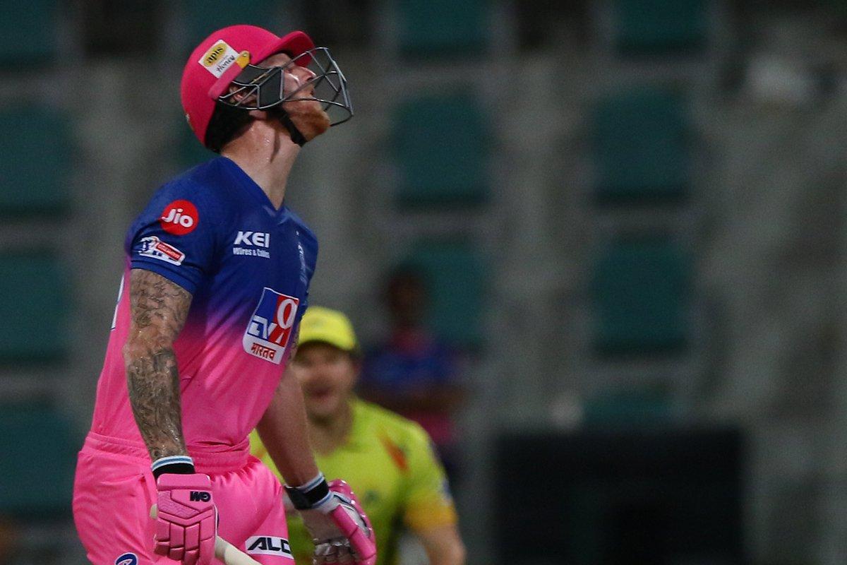 Deepak Chahar provides the breakthrough as Ben Stokes chops it right back onto the stumps. #RR 26/1 after 3 overs 🚨 Follow #IPL2020 #CSKvsRR 🏏 live: sportstar.thehindu.com/cricket/ipl/ip…
