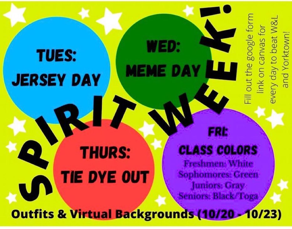 Spirit Week starts TOMORROW!!! Fill out google form link on canvas every day-we are competing with other high schools and we want to WIN. <a target='_blank' href='http://twitter.com/WHSHappenings'>@WHSHappenings</a> <a target='_blank' href='http://twitter.com/wakefieldchief'>@wakefieldchief</a> <a target='_blank' href='https://t.co/VjQog7NUAC'>https://t.co/VjQog7NUAC</a>