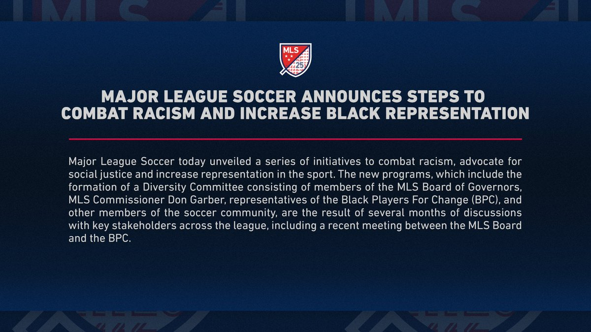 Major League Soccer Announces Steps to Combat Racism and Increase Black Representation 📝: soc.cr/5PPV30rfLi4