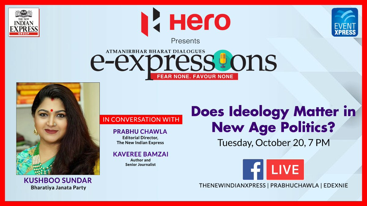 Does Ideology Matter in New Age Politics? Tune in at 7 pm tomorrow as @BJP4India leader @khushsundar talks about it with @PrabhuChawla and @kavereeb in #ExpressExpressions. @gsvasu_TNIE @Eventxpress @Xpress_edex