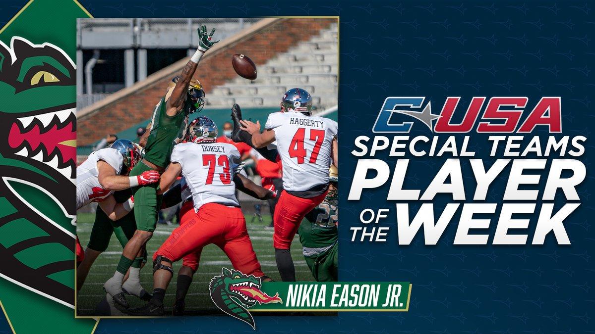 📢: Congratulations to @UAB_FB's Nikia Eason Jr., #CUSAFB Special Teams Player of the Week! 🏈  🏅1️⃣ | #TheCUSAWay https://t.co/YQc8PFbjs3