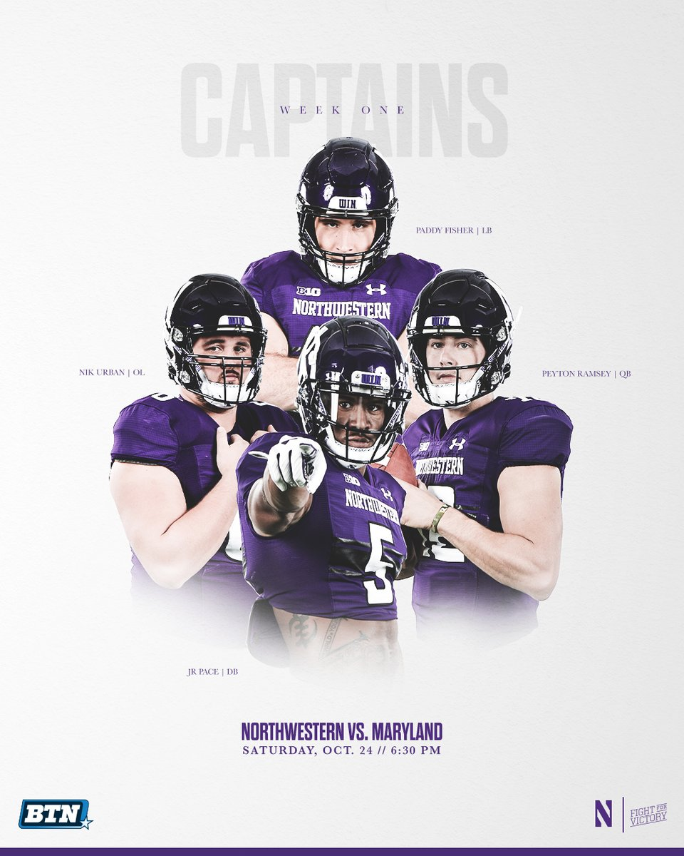 Northwestern Football On Twitter Week One Captains Paddy Fisher P Rams nikurbs jrpace You Lead We ll Follow GoCats