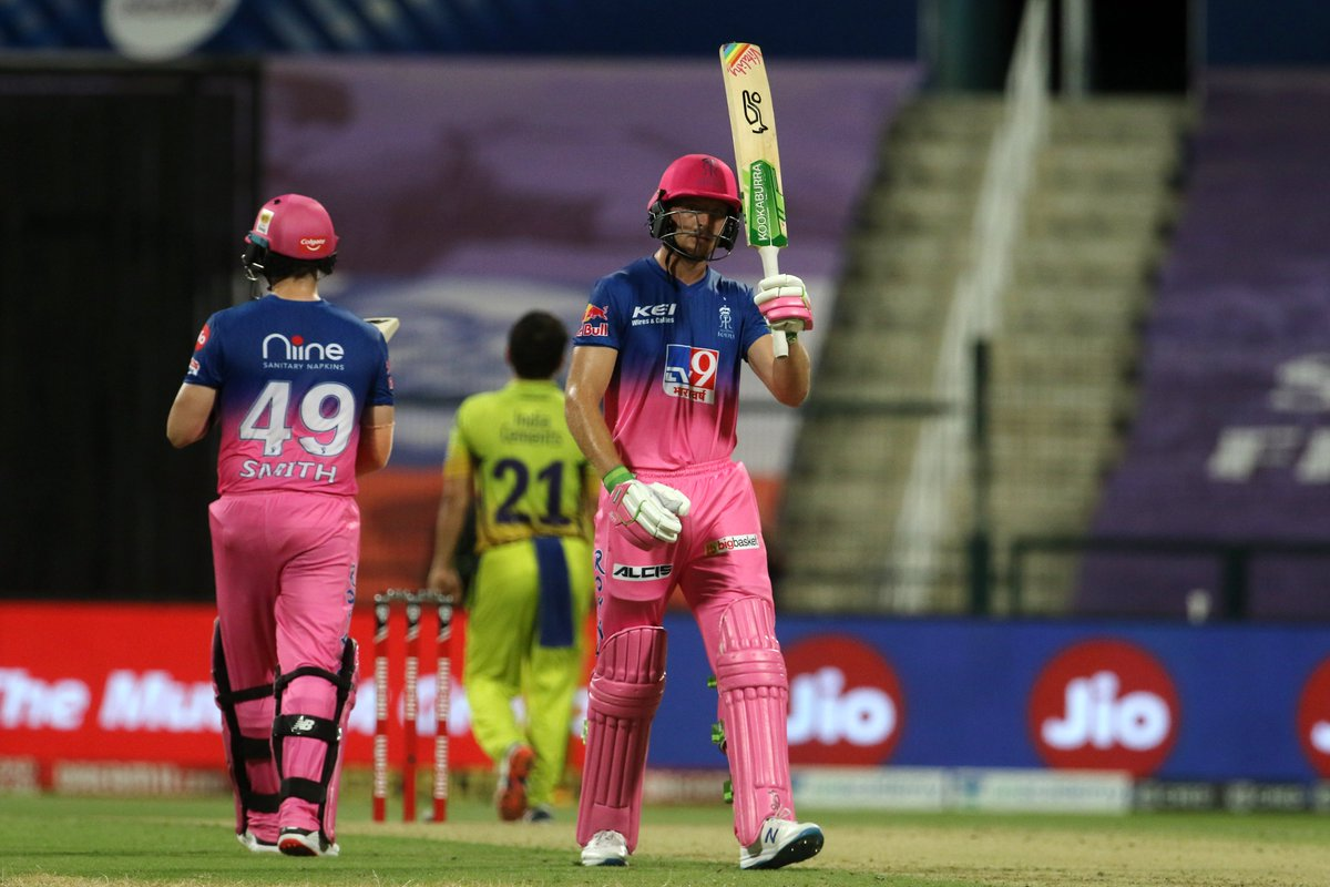 Jos Buttler gets to his 1⃣1⃣th IPL fifty, hammering a fine boundary off Piyush Chawla straight down the ground. #RR 99/3 in 14.3 overs 🚨 Follow #IPL2020 #CSKvsRR 🏏 live: sportstar.thehindu.com/cricket/ipl/ip…