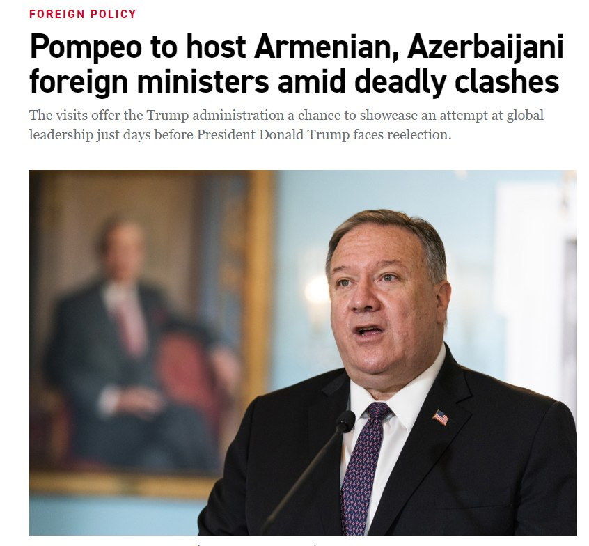 The US Secretary of State Mike Pompeo will have separate meetings with the Foreign Ministers of Armenia and Azerbaijan in Washington. https://t.co/9TBGWixrqi