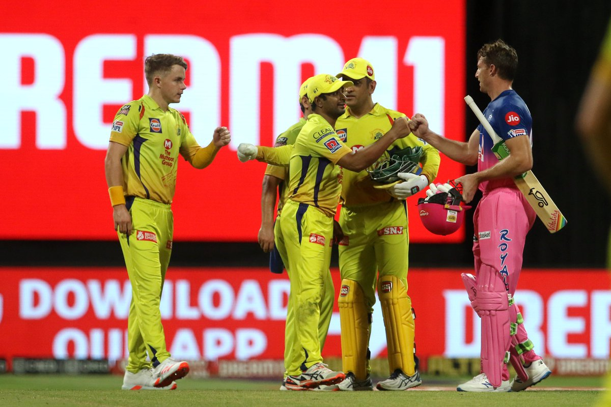 #RR romps home by seven wickets against #CSK and with that win, the side moves up to the fifth spot on the #IPL2020 table. Head to the #CSKvsRR 🏏 blog: sportstar.thehindu.com/cricket/ipl/ip…