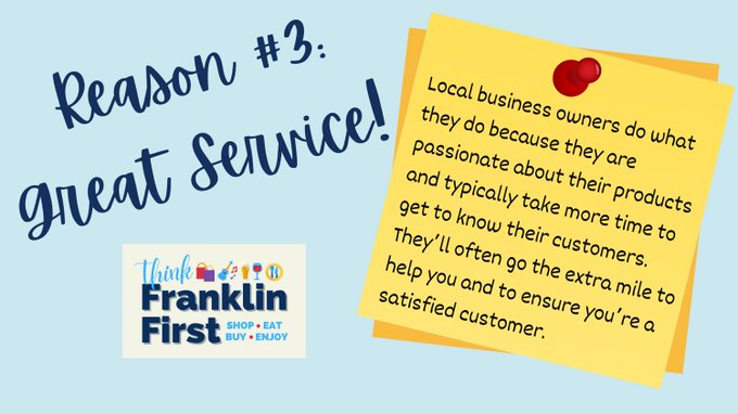 Town of Franklin, MA:  Reason #3 - #ThinkFranklinFirst