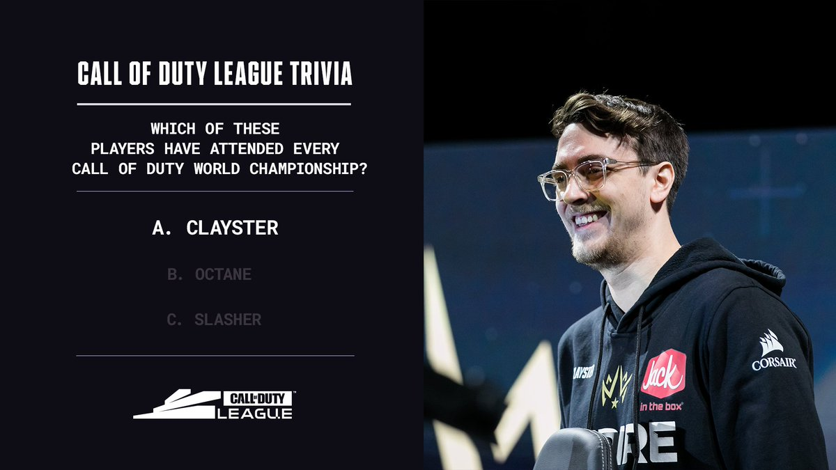 Answer: The three-time champ @Clayster has competed at every COD Champs since 2013 and the Black Ops 2 season! https://t.co/zwE328auS0