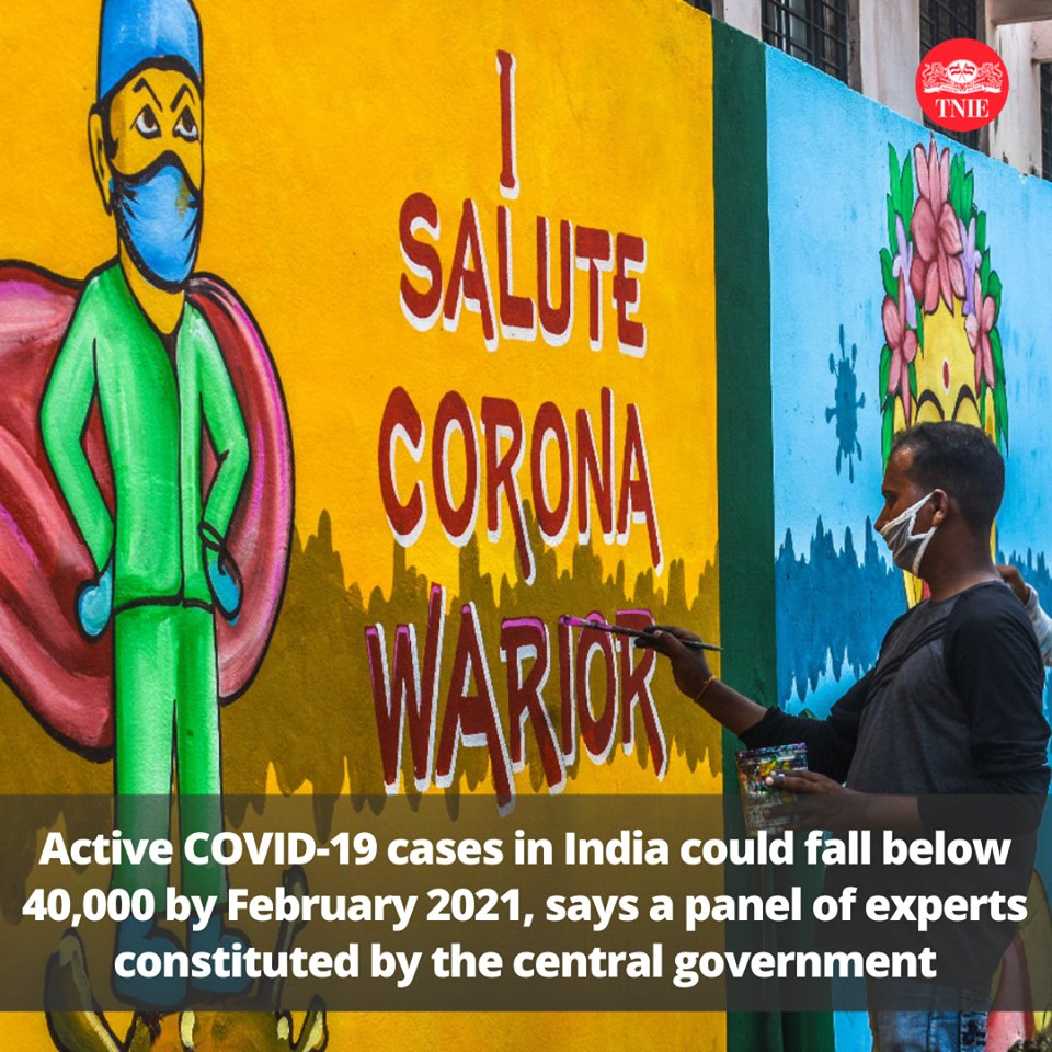 @DonitaJose @XpressHyderabad @gadekal2020 @XpressBengaluru #COVID19 pandemic peaked in India in mid-September & active cases could fall below 40,000 by February 2021 if sufficient protective measures continue, said a central government constituted committee of experts. @richa_TNIE @khogensingh1 For more: bit.ly/35hG7fH