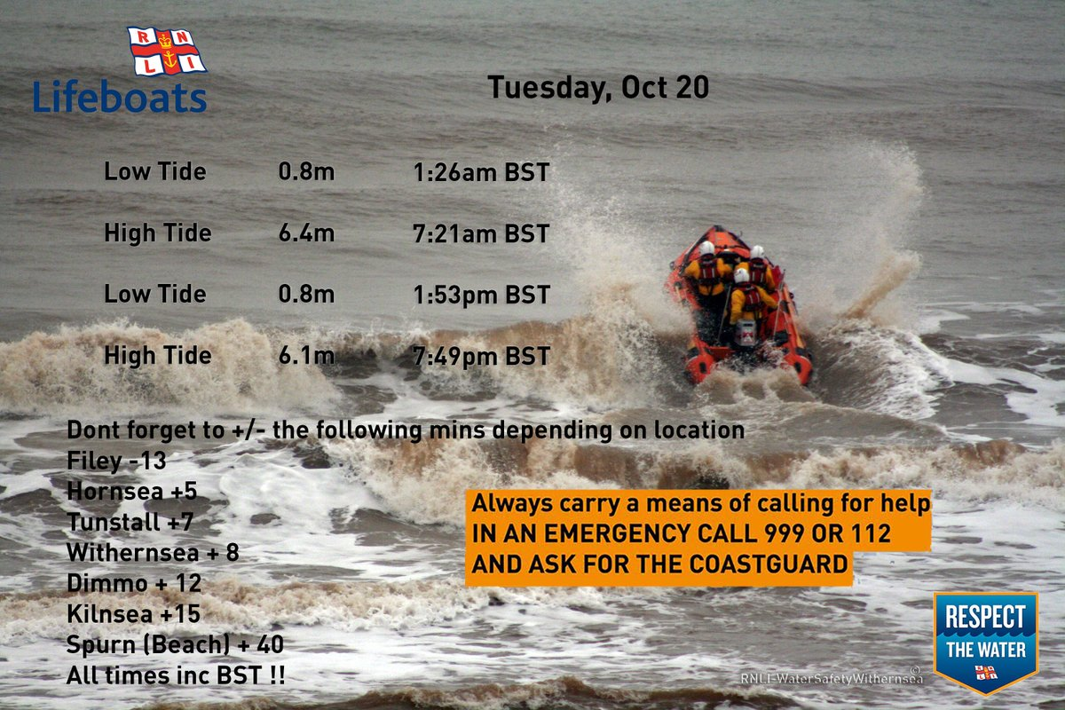 Tuesday October 20 2020🌊⏲️ #RespectTheWater #BeWaterAware #BeBeachSafe #TideTimes #WaterSafety #Withernsea https://t.co/J7IaYLwgBh