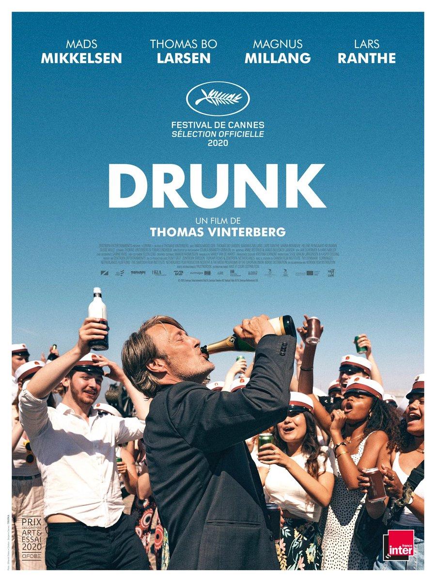 J'ai vu #Drunk de Thomas Vinterberg au cinéma. C'est l'histoire de 4 amis qui décident de mener une expérience scientifique consistant à boire pour retrouver la joie de vivre. Au début ça se passe bien, puis ça dérape forcément... https://t.co/CHQUjmnUK7