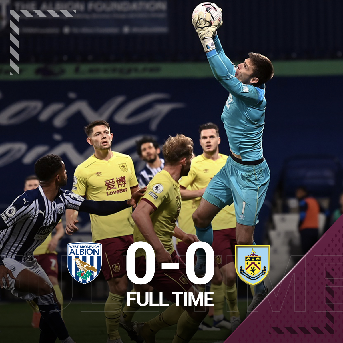 FULL TIME: West Brom 0 -0 Burnley  The points are shared at the Hawthorns. https://t.co/1LkrLBgYoI