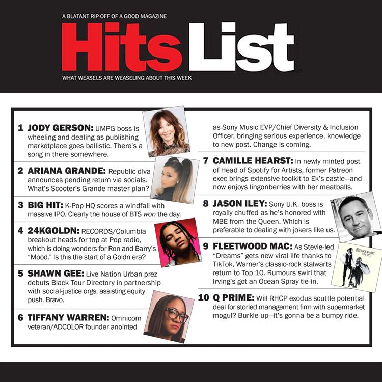 New #HitsList: @UMPGs Jody Gerson, @ArianaGrande, @BigHitEnt, @DiverStar, @24kGoldn, @jasoniley, @fleetwoodmac & more bit.ly/31jjdTF