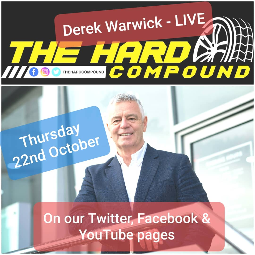 In 3 evenings time we'll be live with former @F1 driver, @BTCC race winner & team founder, and @24heuresdumans winner Derek Warwick.  Tune in on our Facebook, Twitter and YouTube at 8pm on Thursday night, get some questions ready and join in!  #F1 #BTCC #LeMans24 #bathurst https://t.co/2zSkN3aTs3