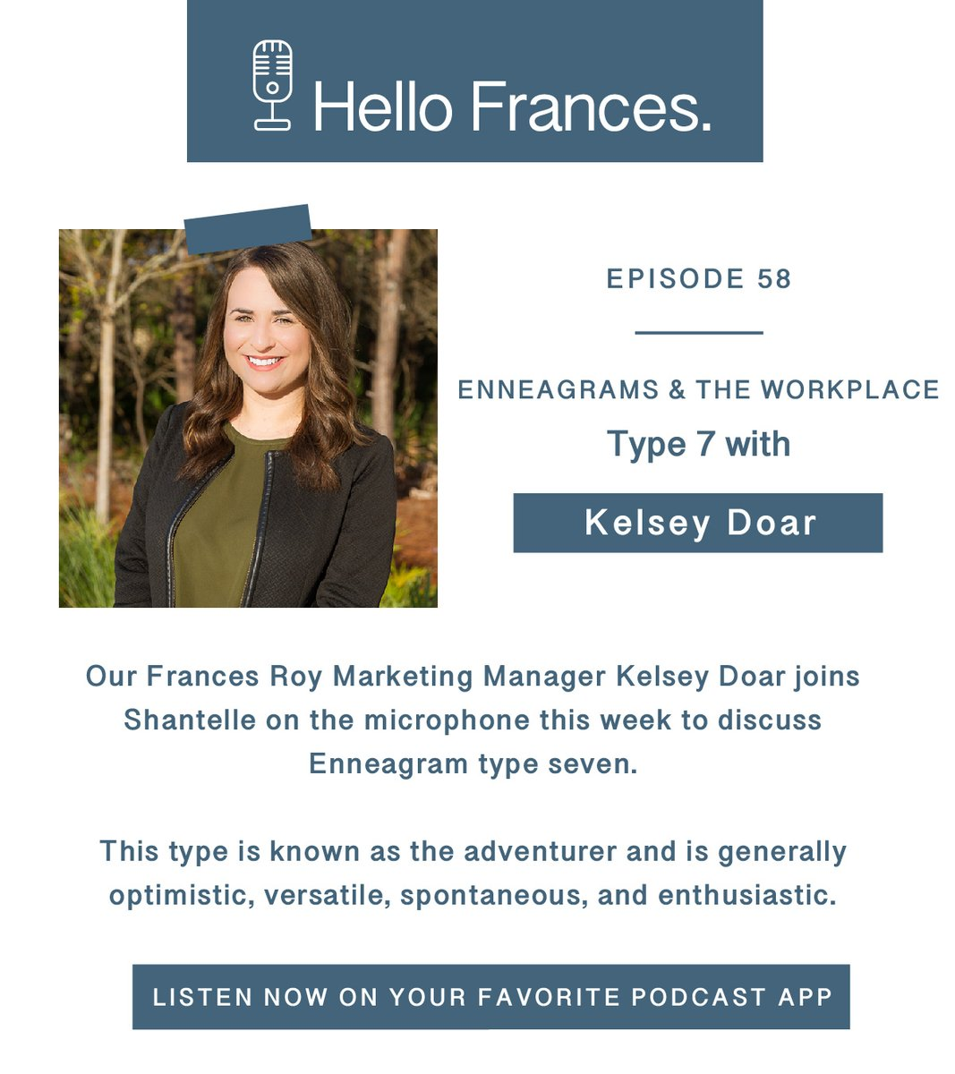 Our Frances Roy Marketing Manager Kelsey Doar joins Shantelle on the microphone this week to discuss the encouraging, adventurous #Enneagram type seven!   Do you know any type 7s? Tag them below to encourage them to listen! https://t.co/ODbDOT6JKS