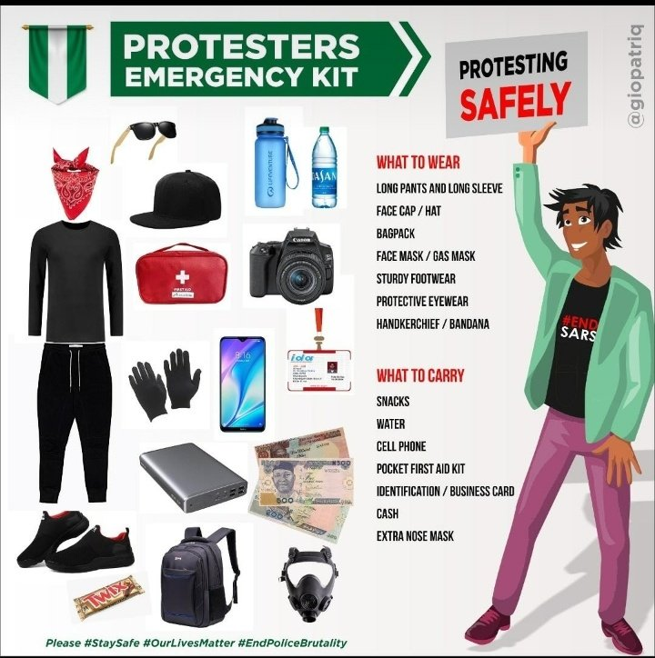 Things you should watch out for when going out for protest. #StaySafeStayHealthy  #statsafe #EndSARSImmediately  #EndSWAT  #NasarawaStateProtest  #nasarawatwittercommunity https://t.co/dNtJeOPjbs