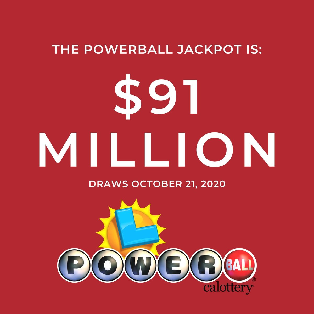Have you heard? The #Powerball jackpot is now $91 MILLION. Do you have your ticket for Wednesday's draw? #calottery #JackpotAlert https://t.co/smXMsZ2nfD