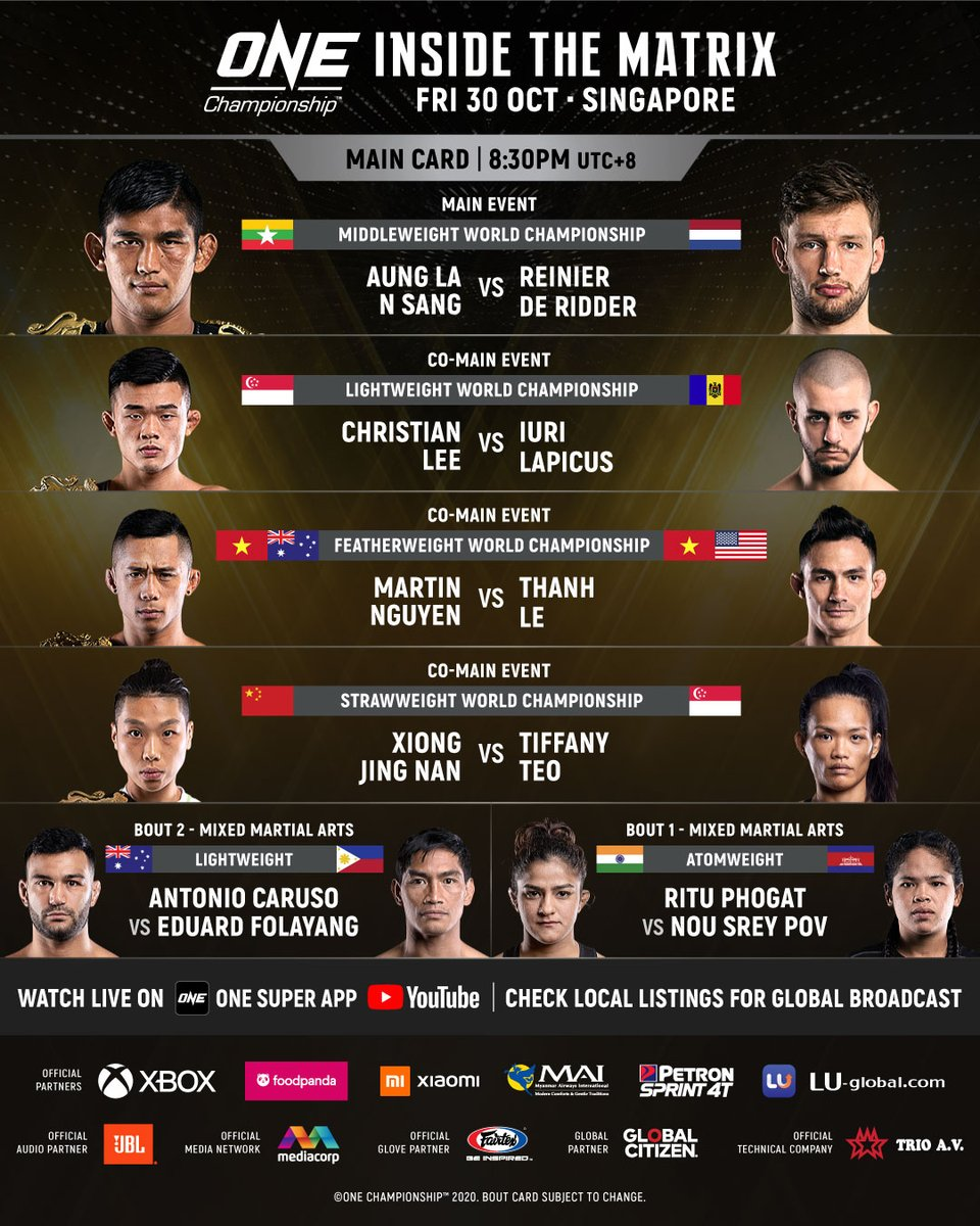 Time to see how deep the rabbit hole goes. @ONEChampionship Inside the Matrix. October 30. Live from Singapore. 4 x world title bouts. Insane. https://t.co/NsV7dMwnlr