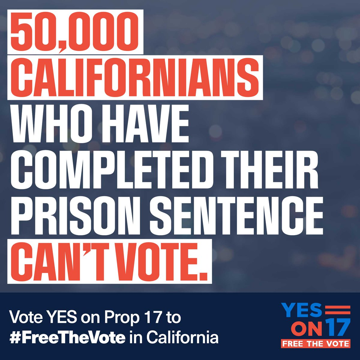 50,000 Californians who have returned home from prison can't vote even though they are raising families, holding jobs, paying taxes, and contributing to society in every other way. Please vote #YesOnProp17 this Nov. to #FreeTheVote! https://t.co/cE12GXqUHs