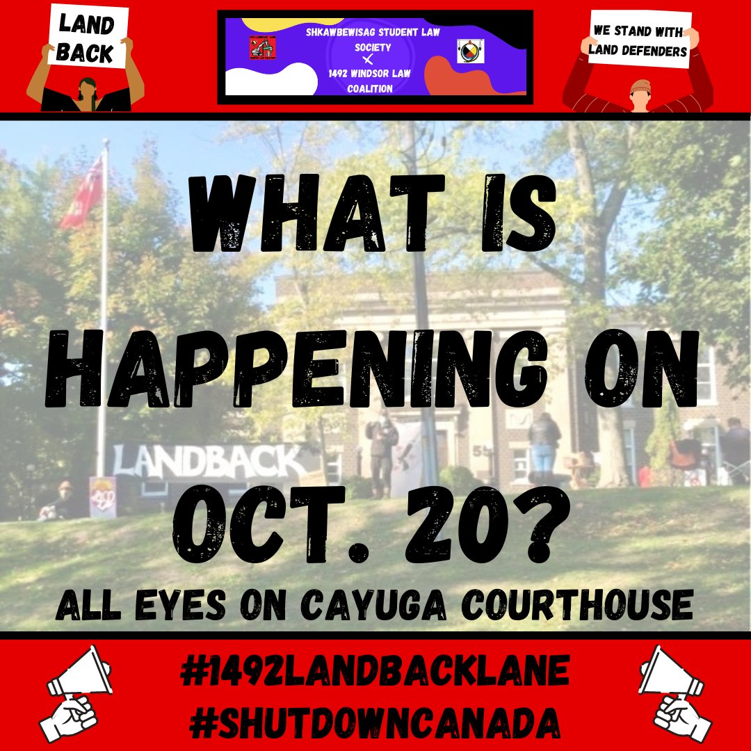 🚨ACTION ITEM ALERT🚨 Join us tomorrow as we stand in solidarity w/ #1492LandBackLane Land Defenders appearing in Criminal Court @ the Cayuga courthouse. Join on zoom, call in, or gather outside the courthouse! Follow @1492LBL for more updates! #LANDBACK #ShutDownCanada 1/2