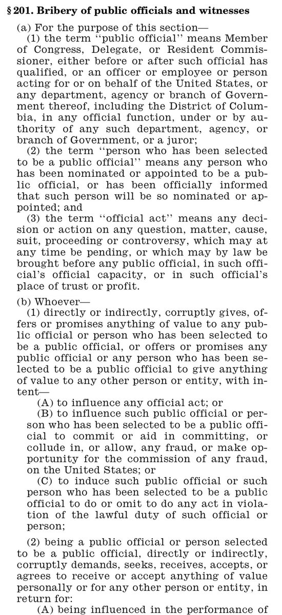One of the few conflict of interest laws applicable to the president is the anti-bribery law. It covers solicitation of a bribe. https://t.co/7l8tS8vsK1 https://t.co/j1jp46fHKd