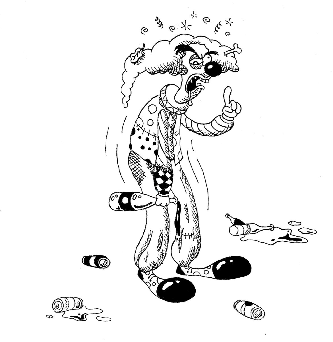 Inktober 2020 Day 19: Dizzy.      Time to drink the bad opinion juice and fall down.      #dizzy #inktober2020 #blackandwhite #penandink #traditionalart #crosshatching #clown #patchwork #filthy #beercans #alcohol #drunk https://t.co/BJYnduPy5n