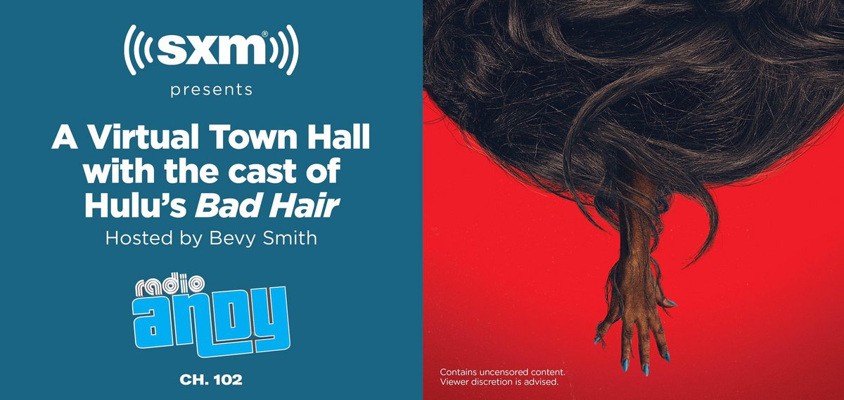 "Want to attend A VIRTUAL Town Hall with the cast of HULU's Bad Hair hosted by Bevy Smith on 10/22? EMAIL rsvp@siriusxm.com, include ""Bad Hair"", your name, email, & phone number by 6pm ET on 10/21. The first 35 U.S. eligible responders who are 18+ could attend. https://t.co/4Ce6KLkJC0"