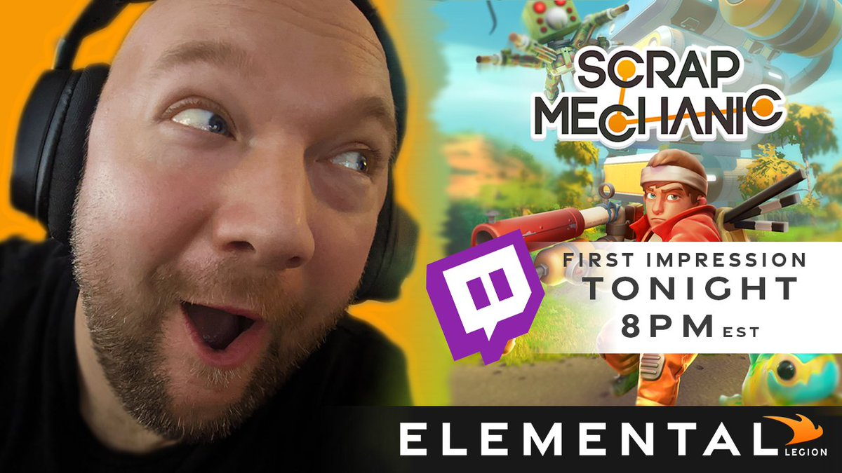 OHHH YEA! Get your gears turning with #scrapmechanic tonight at 8pm est. #Live on #Twitch as we take a first time look at this #multiplayer #survival #builder #game Join the fun here: https://t.co/L7xQY2011l @ScrapMechanic @AxolotGames (The same creators of #RAFT) https://t.co/iDl7bent5D