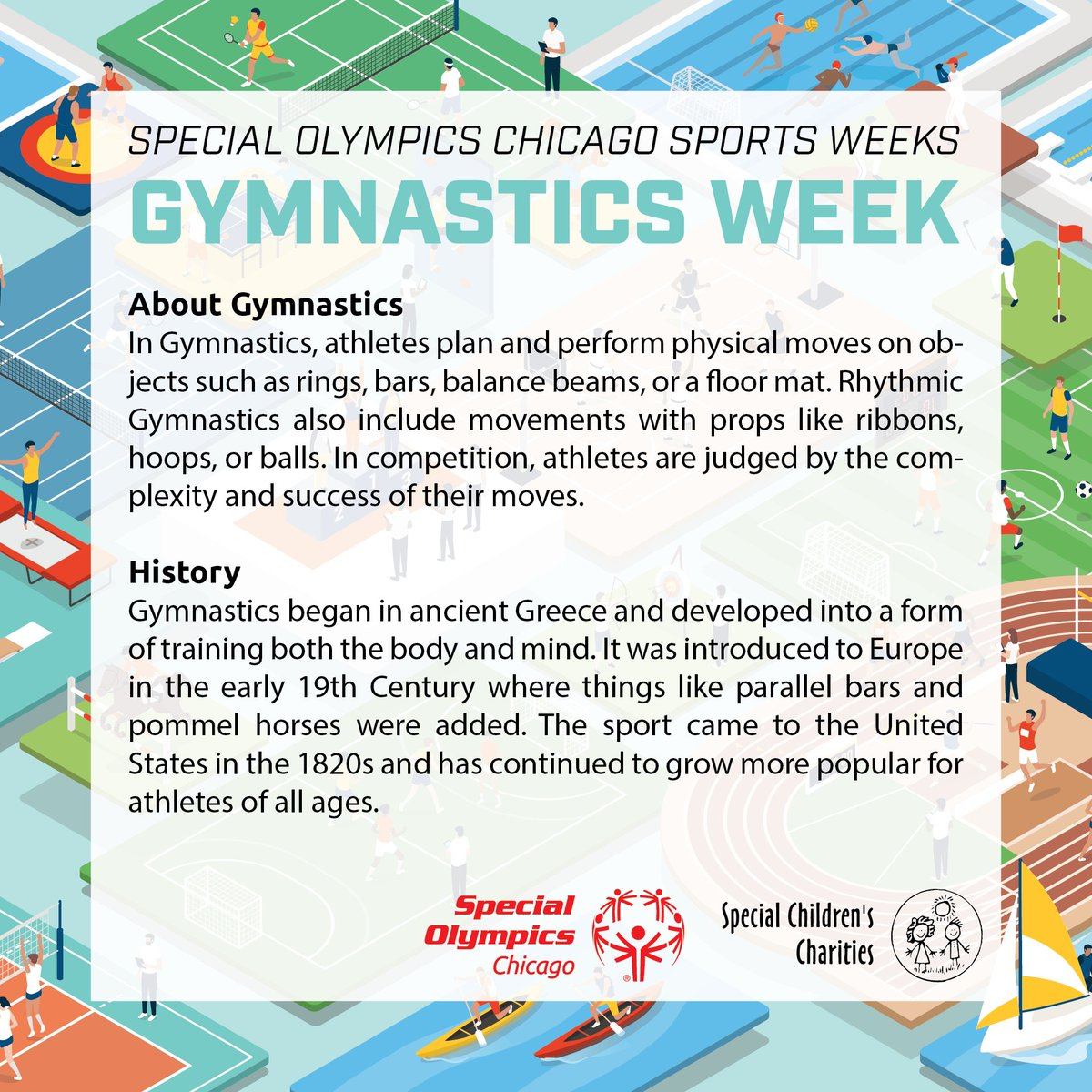 It's Gymnastics Week! Gymnastics began in ancient Greece and has spread around the world, becoming popular for athletes of all ages. Special Olympics Chicago athletes compete in a variety of events, including floor exercises and vaulting. Rhythmic Gymnastics is also popular! https://t.co/UI2wbLTeXR