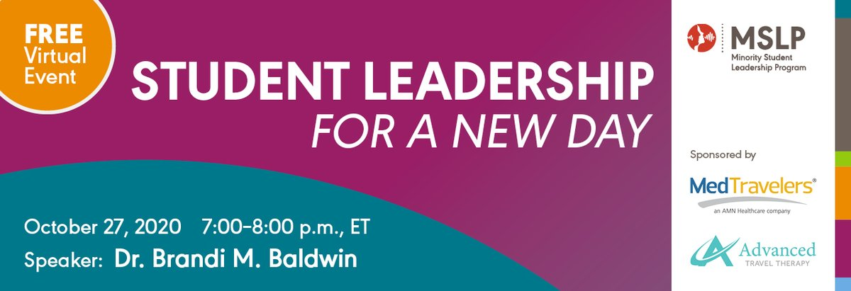 #slp2b #slpeeps Want to be inspired, motivated, and equipped for leadership in #CSD and beyond? Register for #ASHA's #MSLP virtual event, Tuesday, October 27th, from 7:00-8:00 pm EST sponsored by @MedTravelers  @gowithadvanced Click here to register:  https://t.co/flMgX3huEv https://t.co/SgdNKVDNiP
